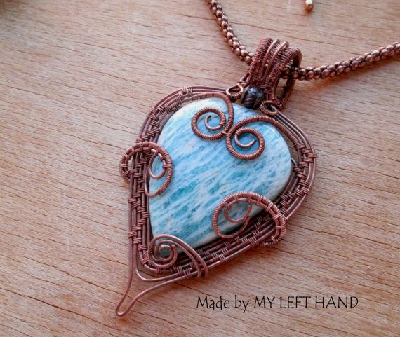 Amazonite Wire Wrapped Pendant Necklace, Copper Wire Wrapped Statement Necklace, Heart Necklace,Wire Woven Necklace