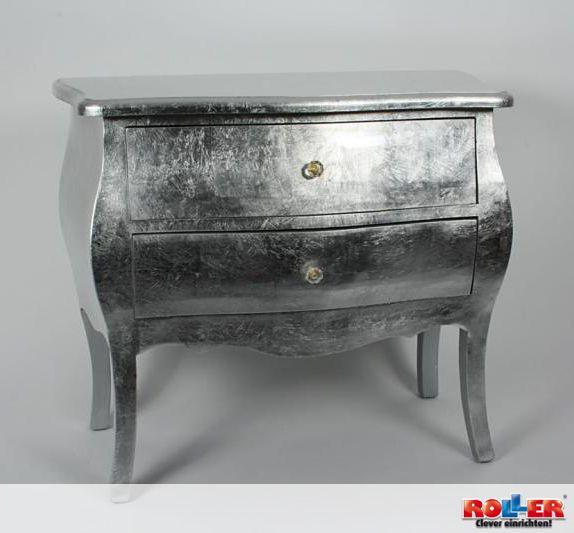 Eine Ausgefallene Kommode In Silber Mit Zwei Schubladen