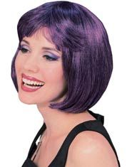 Sexy Super Model Wig in Purple with Black