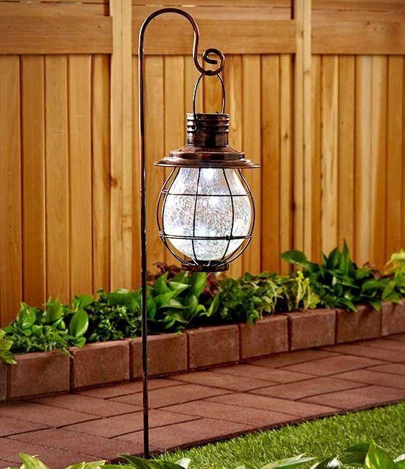 Outdoor Solar Lanterns Hanging Bronze Or Antique White Garden Sidewalk Lights  #Unbranded #Lantern