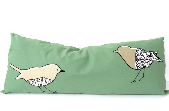 Appliqued Bird Pillow Cover PILLOW TALK 14x35 inch Handmade Cotton Decorative Throw Bird Lumbar Pillow Animal Nursery Pillowcase Green Beige