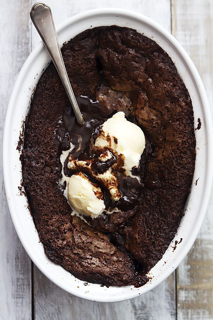 Chocolate Cobbler - an easy chocolate lover's dream dessert with chewy brownie on top and ooey gooey hot fudge sauce on the bottom!