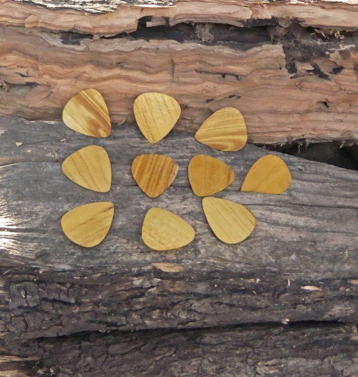 Guitar Picks, hand made Mulberry wood Plectrums - set of 10 by ellenisworkshop on Etsy