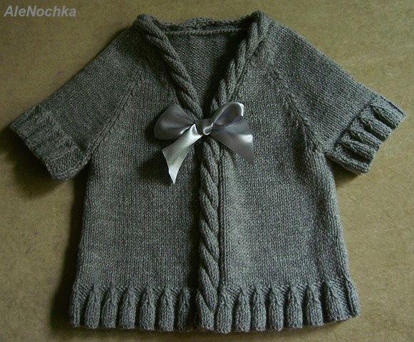 2Мои работы девочкам: кофты, свитера, туники, платья, комплекты серая безрукавка #2