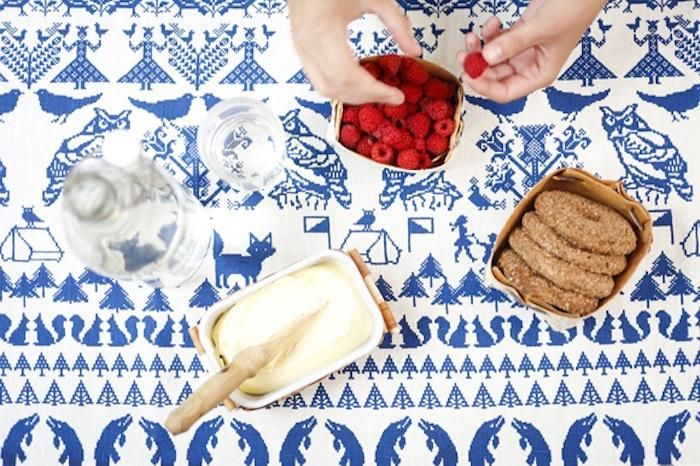 Bright blue and white table runner - Textile company, Saana ja Olli from Norway