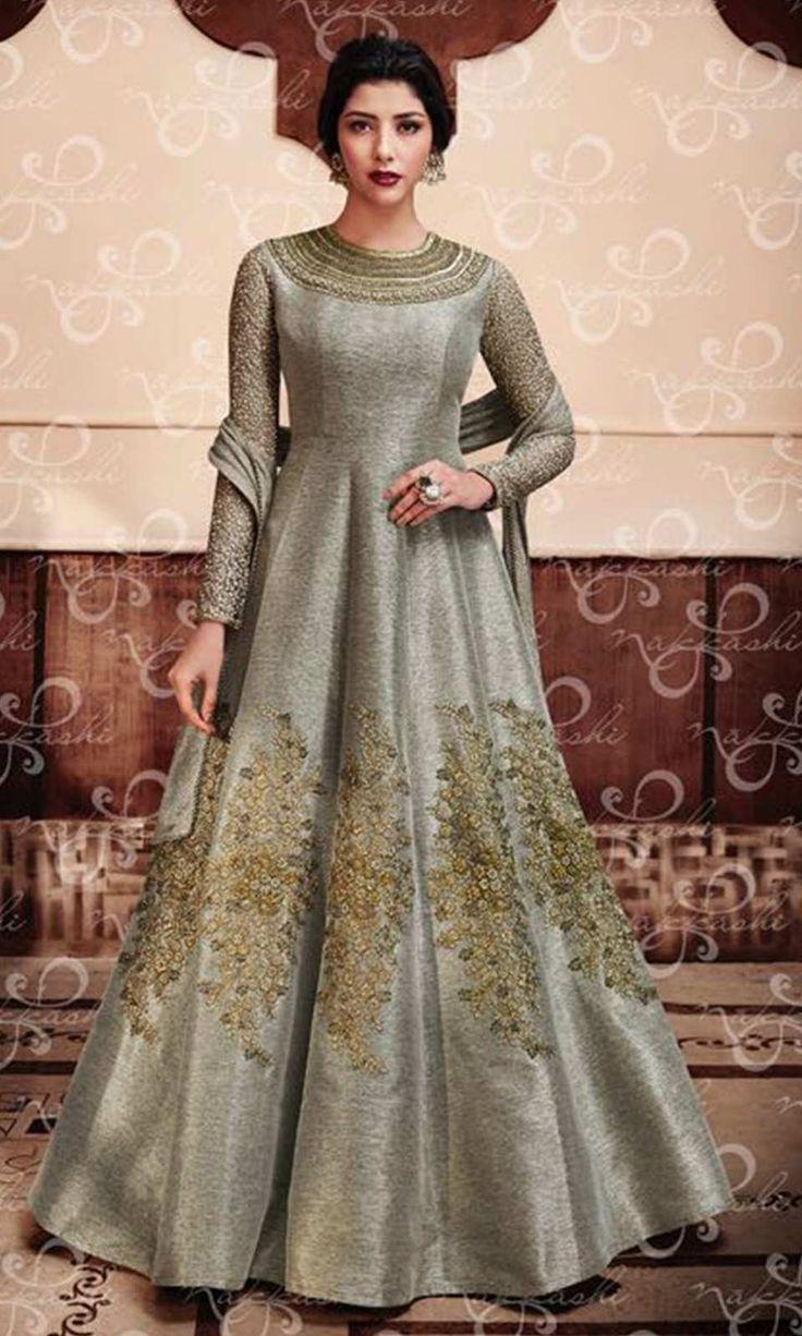 Buy online Grey Designer Silk Salwar kameez Suit (SKU Code : SUEBRNK11047) at Ishimaya Fashion.