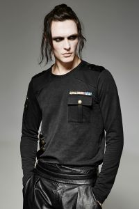 Langarmshirt im Militär Style im Feinstrick Vintage Look