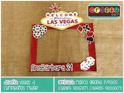 Marco gigante de Vegas - Cumpleaños mujer… Podemos personalizarla con cualquier tema! • Vegas giant photo frame - Women birthday... We can personalize it with any party theme!