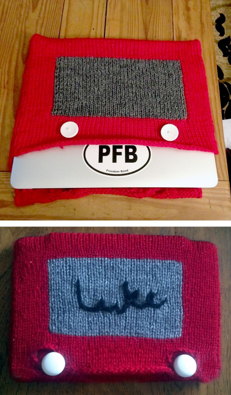 Free Knitting Pattern for Etch-a-Sketch Tablet Cozy - Celebrate Etch a Sketch Day with this free pattern for a tablet, laptop, or device cover inspired by the favorite toy. The Etch a Sketch was debuted on July 12, 1960.  You can customize by embroidering your own sketch on the screen. And you can felt if you want. Designed by by Lyndee Pitiak. Pictured project