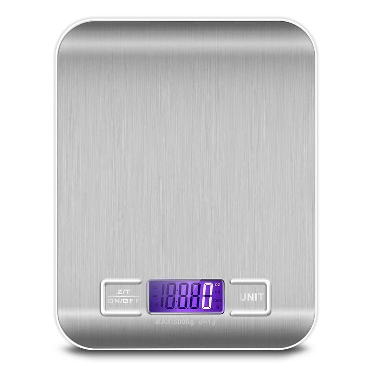 Digital Kitchen Scale, Food Scale Weighing and Measuring Scale Multi functional Volume Measurement Gram Scale 11lb 5kg Silver Stainless Steel (Batteries Included)