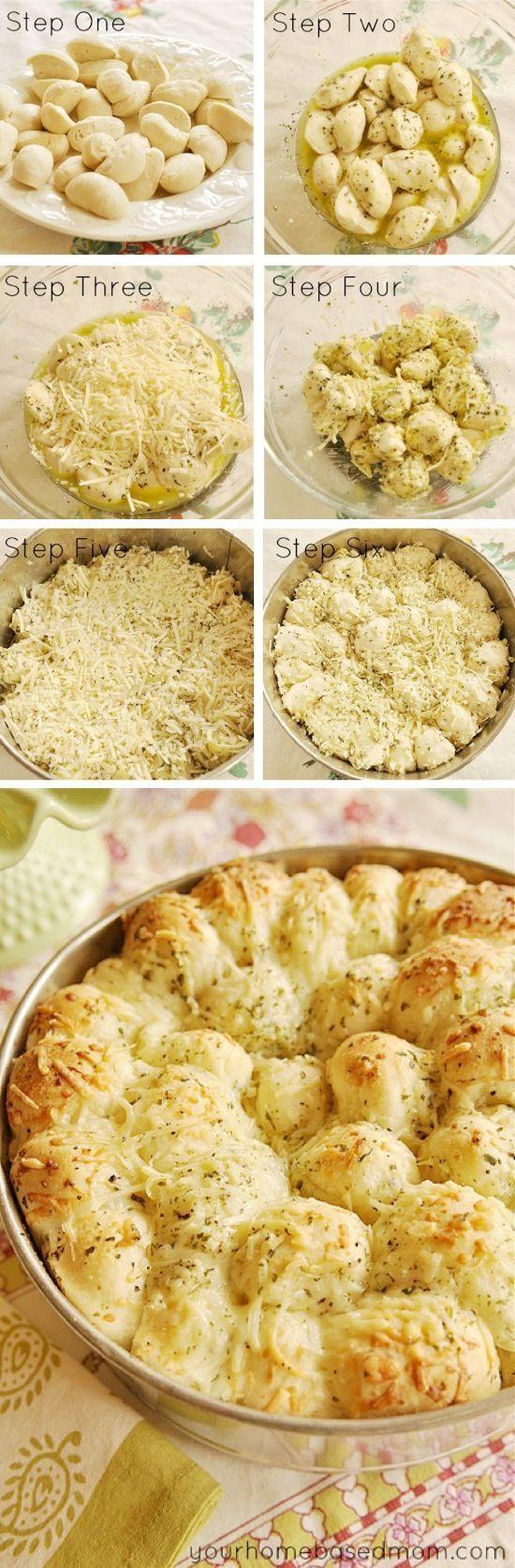 Garlic Cheese Monkey Bread using store-bought frozen bread dough