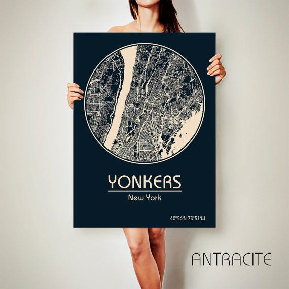 YONKERS New York CANVAS Map Yonkers New York Poster by ArchTravel