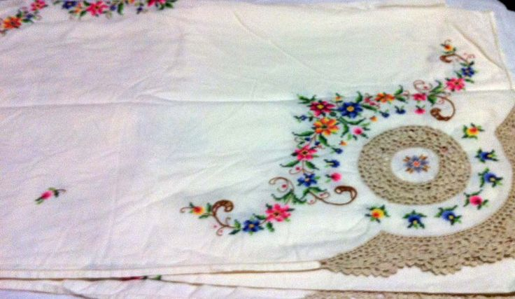 Large embroidered tablecloth