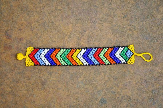 African beaded bracelet beaded arrow pattern by akwaabaAfrica