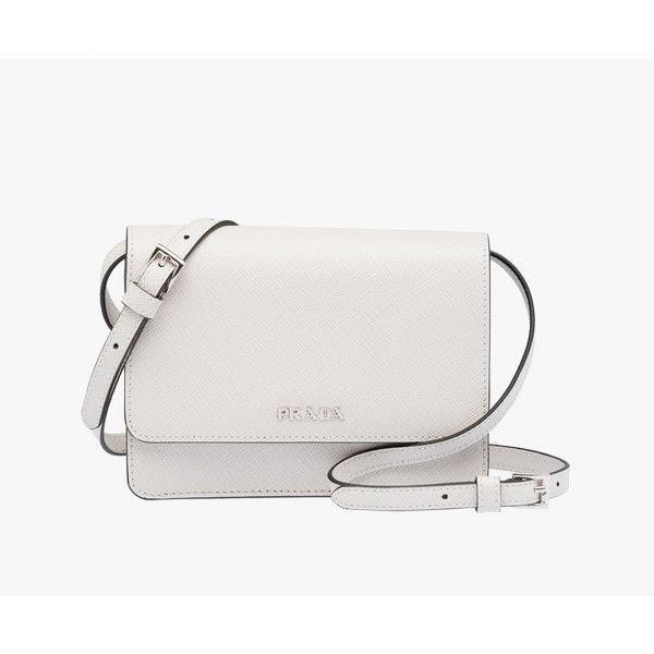 PRADA Small Bag ($1,130) ❤ liked on Polyvore featuring bags, handbags, shoulder bags, chalk white, women, prada, white purse, white shoulder bag, white handbags und zipper purse