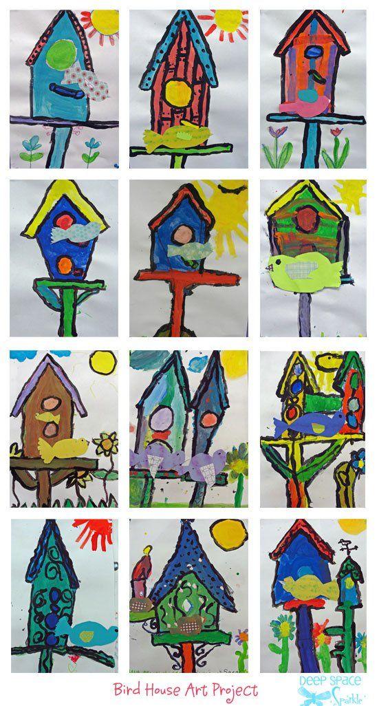 Birdhouse and Paper Bird Art Lesson   Kindergarten art ...