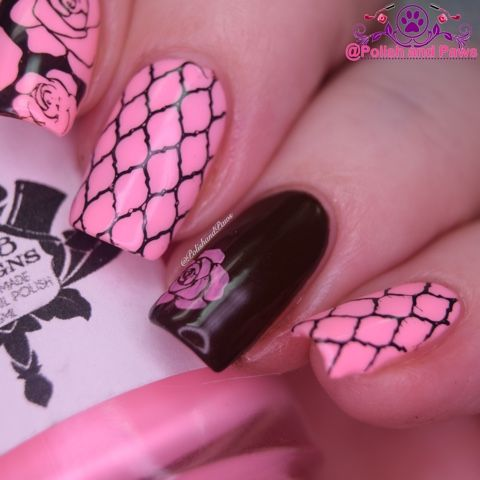 931 best pink base stamping nail art images on pinterest nailart polish and paws nail art brown and pink whencolorscollide prinsesfo Image collections