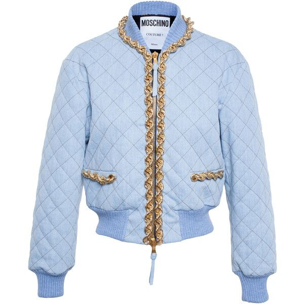 MOSCHINO Quilted Denim Bomber with Chain Trim ($1,465) ❤ liked on Polyvore featuring outerwear, jackets, moschino, blue quilted jacket, stitch jacket, flight jacket, blouson jacket and bomber jacket