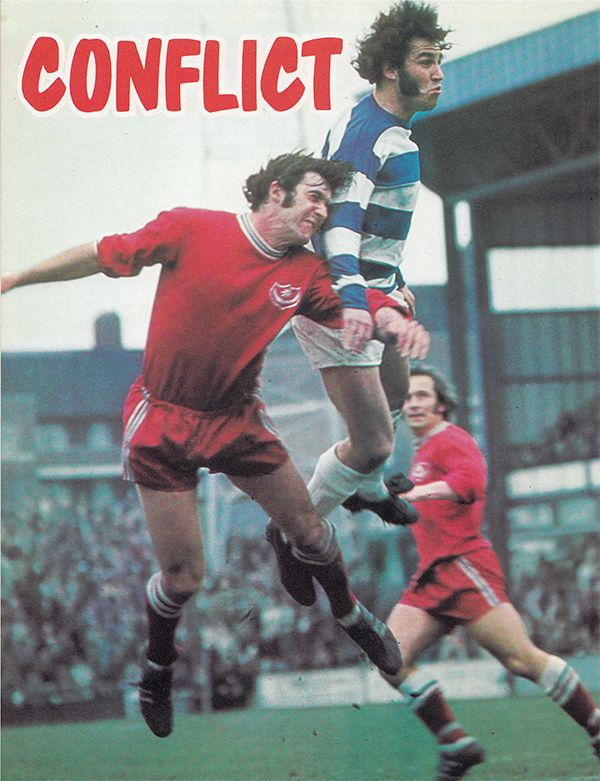 31st March 1973. Queens Park Rangers playmaker out jumping Portsmouth centre half Eoin Hand, at Loftus Road.