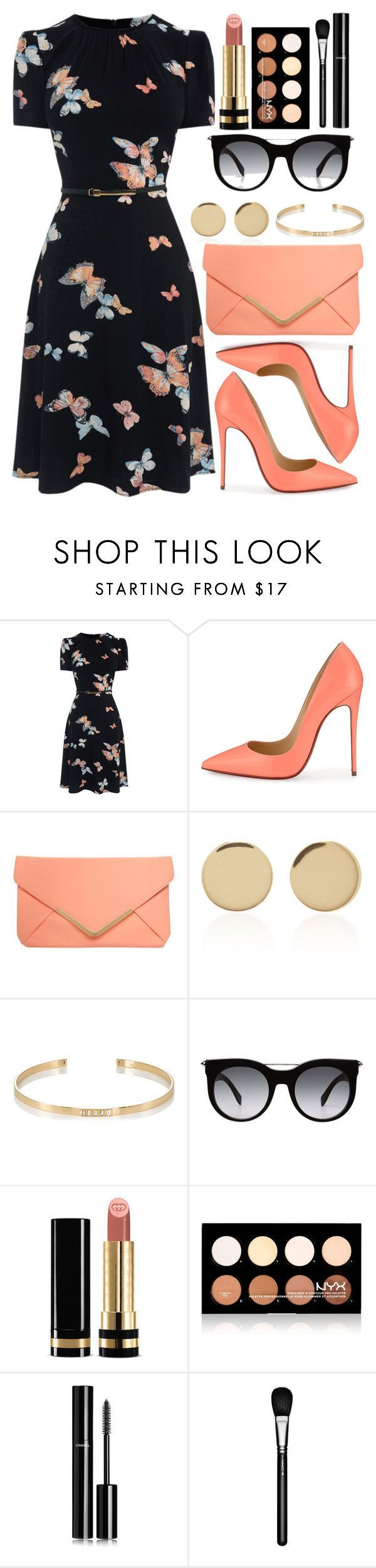 """Untitled #4374"" by natalyasidunova ❤ liked on Polyvore featuring Christian Louboutin, Dorothy Perkins, Magdalena Frackowiak, Ileana Makri, Alexander McQueen, Gucci, NYX, Chanel and MAC Cosmetics"
