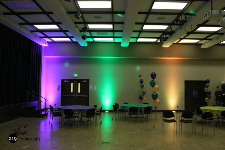 Mardi Gras themed uplighting at Purdue University Calumet, Hammond, Indiana.