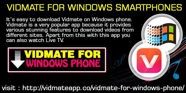Vidmate For Windows Phone Windows phone, Watch live tv