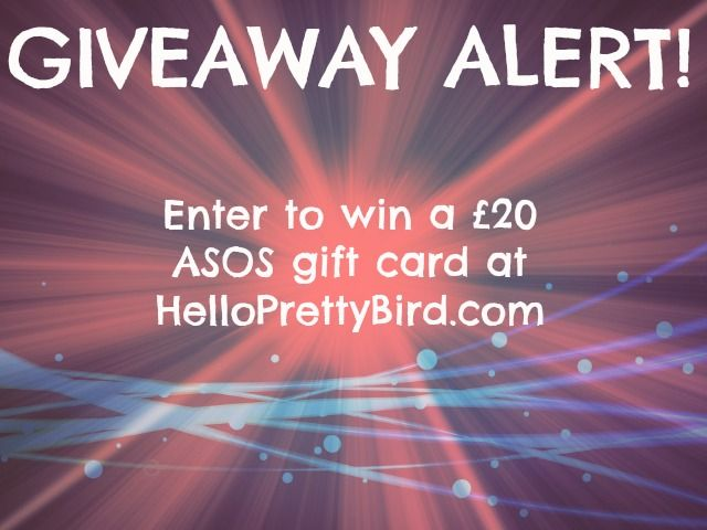 GIVEAWAY ALERT! HelloPrettyBird.com is giving away a £20 ASOS gift card to one of their readers. Giveaway closes 02 March 2014 and is open internationally. To enter: http://www.helloprettybird.com/2014/02/giveaway-alert-win-asos-gift-card.html  #ASOS #giveaway