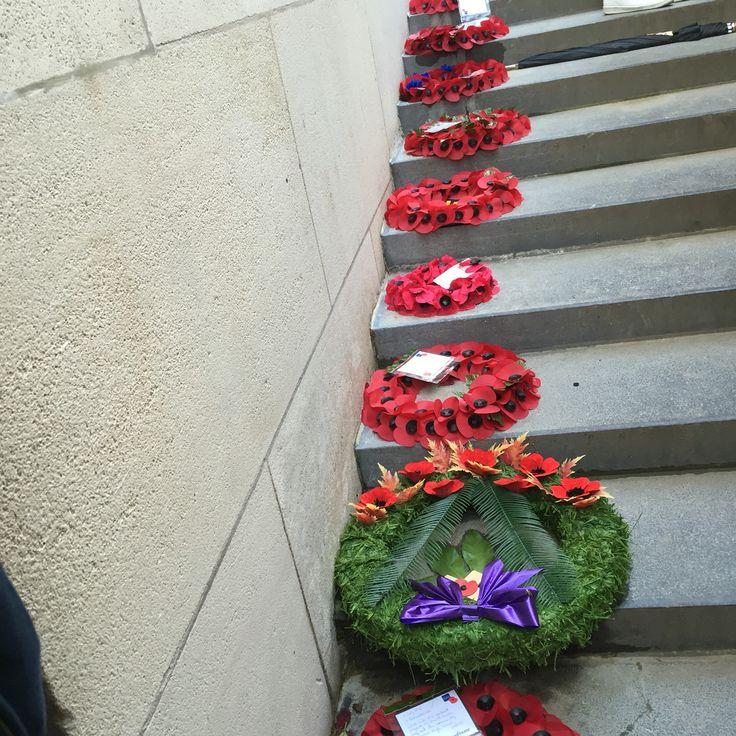 Wreaths at the Menin gate memorial, Ypres