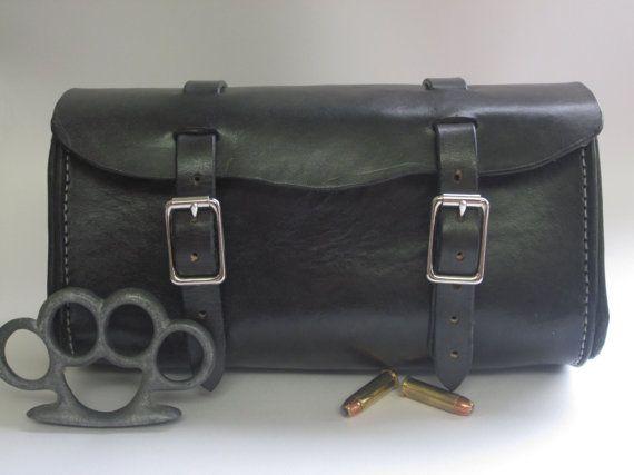 Handmade black leather motorcycle bicycle tool bag