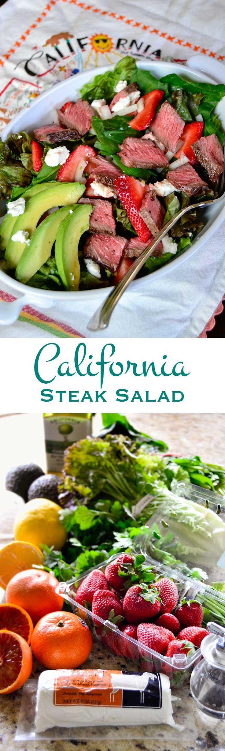 PIN for California steak salad: loaded with tender steak, crunchy greens, juicy strawberries, tangy goat cheese, and topped with a bright, zingy citrus vinaigrette.   #CAonMyPlate #CultivateCA #ad Learn more at Cultivate California: http://clvr.li/1Pj1Y7O