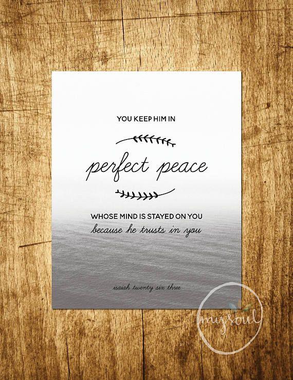 Perfect Peace Printable  Isaiah 26:3 Bible Verse  Scripture