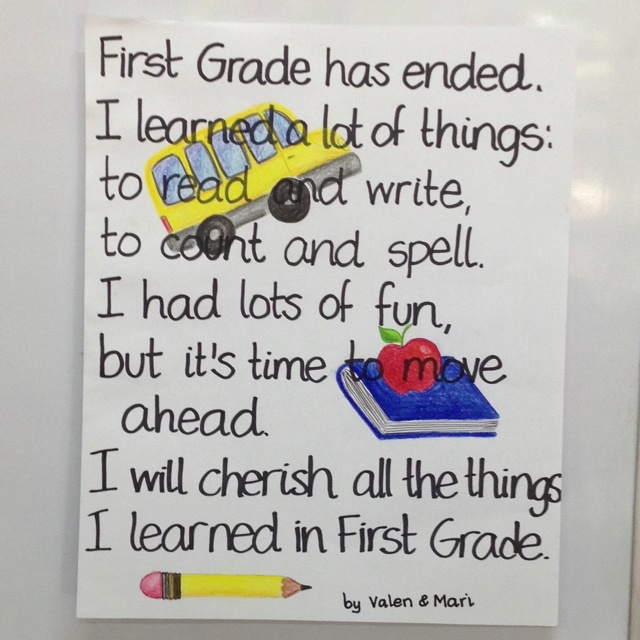 end of the school year first grade poem saying goodbye