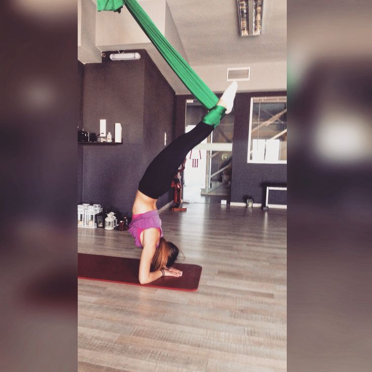 Aerial Yoga pose with the hammock..