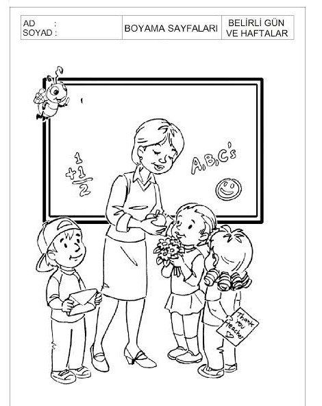 öğretmenler Günü En Güzel Boyama Sayfaları Boyama Sayfaları