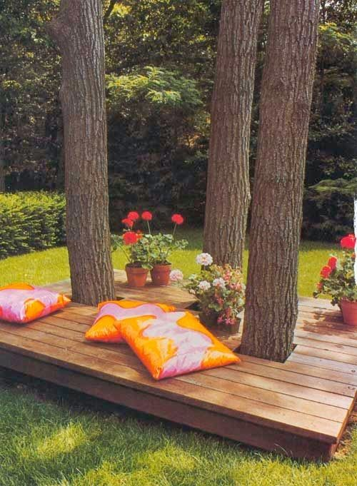Building A Bench Around A Tree Part - 31: Lounging Deck Around Trees - Nice Shady Spot
