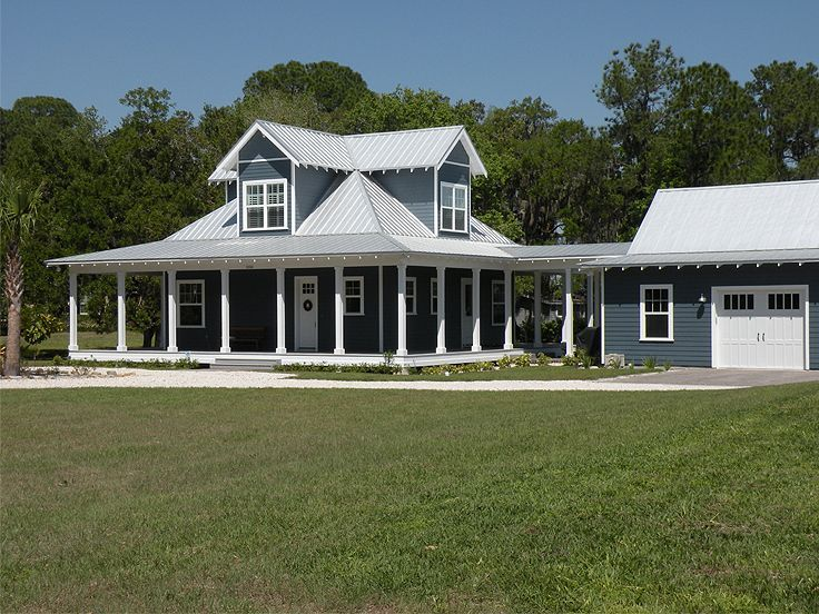 Country ranch home w wrap around porch hq plans for Metal shop home plans