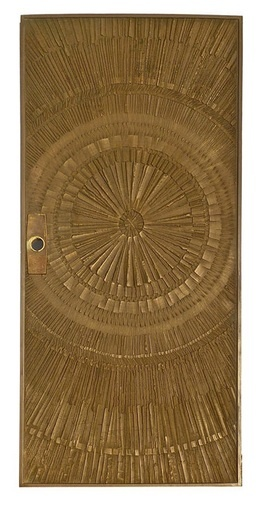 """Bronze """"sunburst"""" Door. USA, 1960s. Designed by Billy Joe McCarroll and David Gillespie for the Forms & Surfaces Co. of Santa Barbara, CA.    Photography provided by Studio 111  of Palm Springs, CA."""
