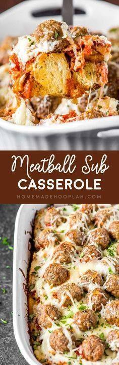 Meatball Sub Cassero Meatball Sub Casserole! Layers of savory...  Meatball Sub Cassero Meatball Sub Casserole! Layers of savory meatballs creamy mozzarella cheese and buttery garlic bread make this meatball sub casserole a perfect weeknight dinner.   HomemadeHooplah.com Recipe : http://ift.tt/1hGiZgA And @ItsNutella  http://ift.tt/2v8iUYW