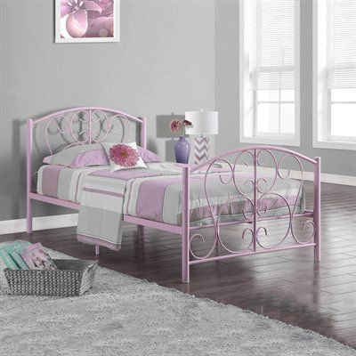 this pretty pink bed frame features dainty scrolls and graceful curves in a definitively delicate design make this frame the starting point for a