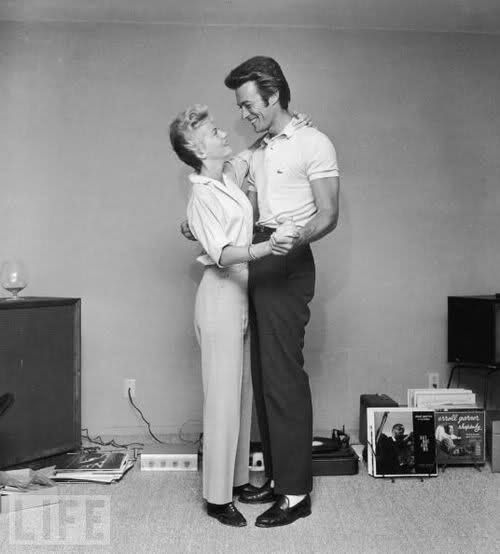 Clint Eastwood with his first wife, Maggie, in 1955.