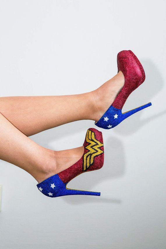 Custom made sizes 5.5-11 Wonder woman fan art by GlamAndGloryLab