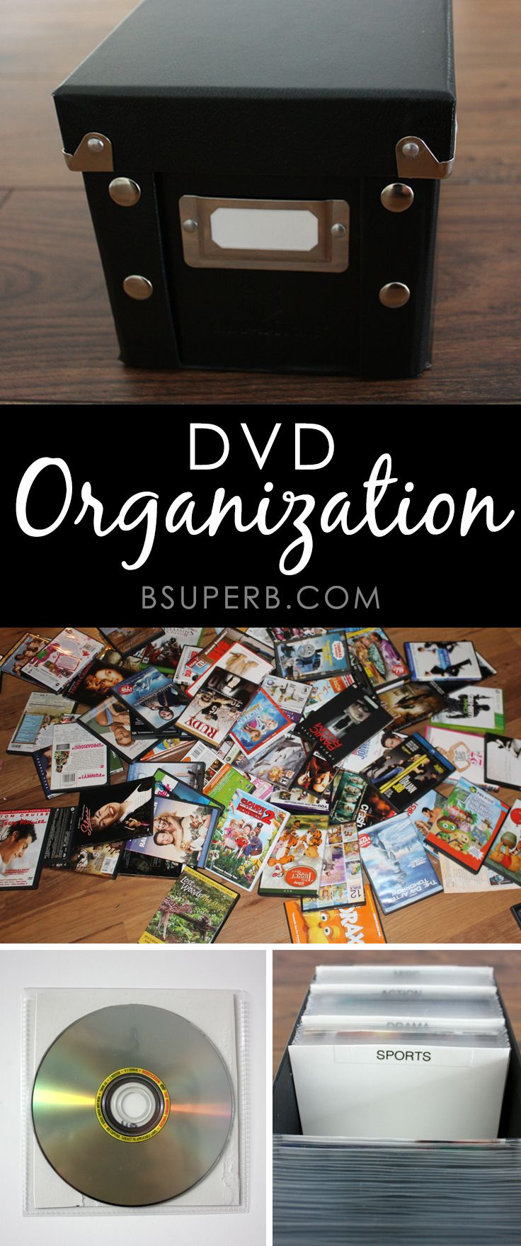 DVD Storage and Organization- including dividers (could do with the alphabet as well)