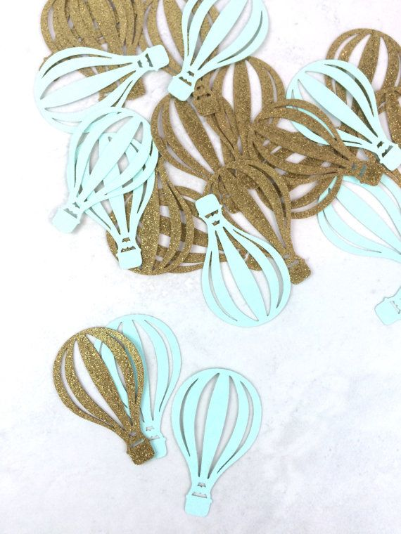 Hot Air Balloon coriandoli | Up Up and Away | Baby Shower Party addobbi | Hot Air Balloon decorazioni | Uovo di Pettirosso blu | Verde menta | Oro