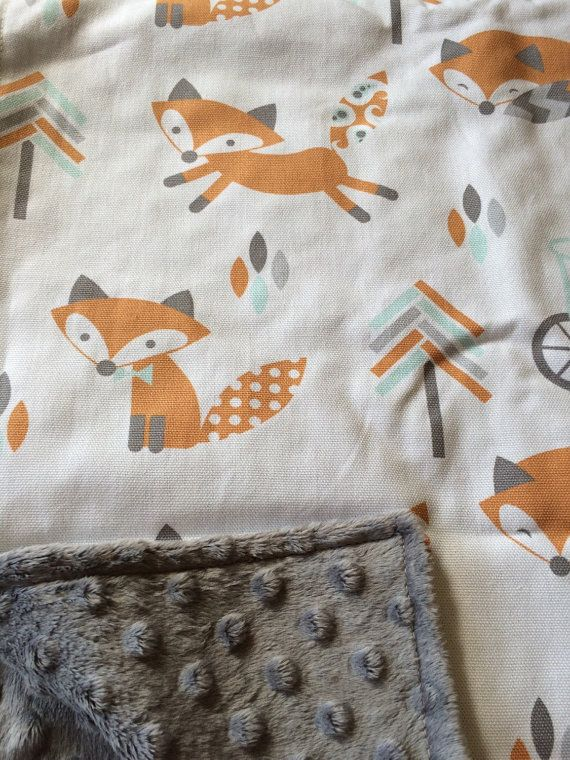 Fox Baby Blanket, arrow Blanket, Woodland Blanket, Woodland Nursery, Gender Neutral Baby Shower Gift, Fox bike minky, baby gift