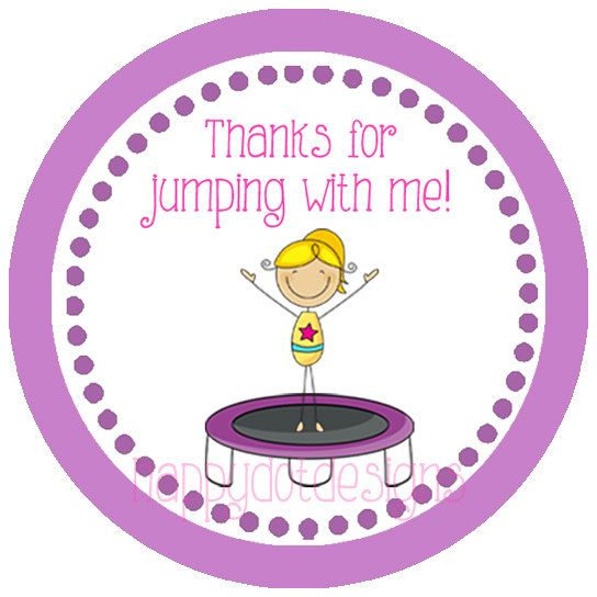 Printable Trampoline Birthday Favor Tags by HappyDotDesign on Etsy