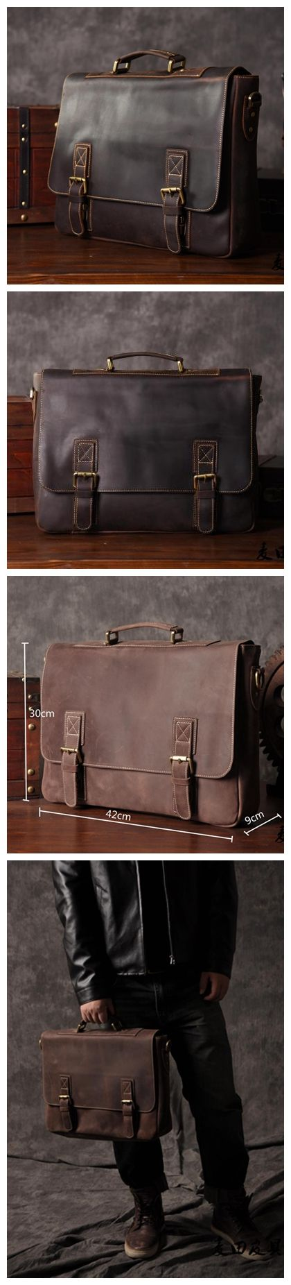 Genuine Leather Men's Briefcase Laptop Handbag Messenger Bag Leather Goods For Men Leather Good Design