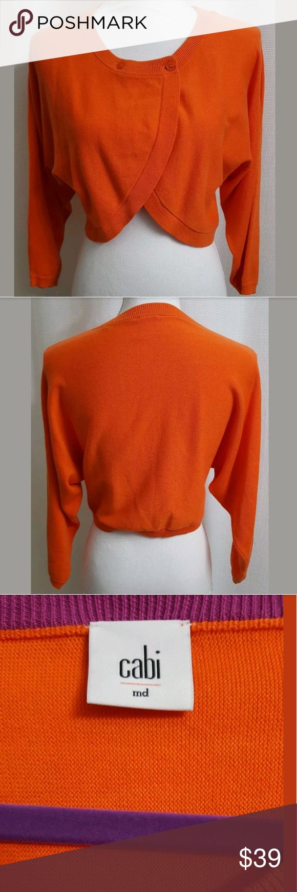 """Cabi # 5008 Piccolo Shrug Cardigan Sweater MEDIUM This is a Cabi # 5008 Piccolo Shrug Cardigan Sweater Tiger Lilly Orange MEDIUM (#J). There are no stains, snags, or holes.  Measurements: (When laid flat) Armpit to armpit: 20"""" Top of shoulder to bottom: 16.5""""  Product material: 100% Cotton   Inventory #: J CAbi Sweaters Cardigans"""