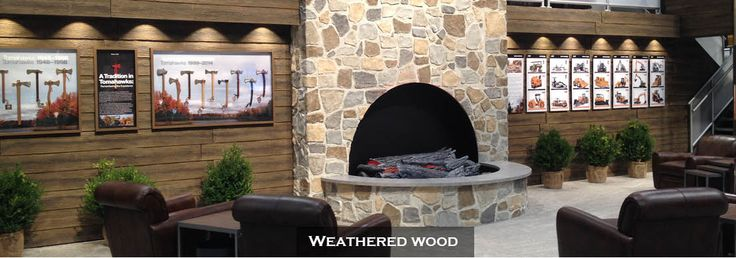 Weathered wood panels perfect for that rustic look. Pair with stone panels for modern rustic living room Urestone Wood Textures fauxstonesheets.com
