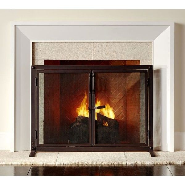 Pottery Barn Industrial Fireplace Open Door Screen ($249) ❤ liked on Polyvore featuring home, home decor, fireplace accessories, fireplaces, furniture, pottery barn, fire-place screen, door screen and hearth screen