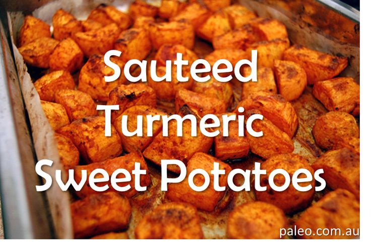 Recipe:Sauteed Turmeric Sweet Potatoes. Great side  for a paleo diet dinner or lunch idea!